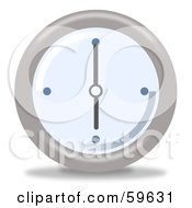 Royalty Free RF Clipart Illustration Of A Round Chrome And Blue Wall Clock Version 7