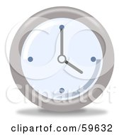 Royalty Free RF Clipart Illustration Of A Round Chrome And Blue Wall Clock Version 4