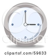 Royalty Free RF Clipart Illustration Of A Round Chrome And Blue Wall Clock Version 3