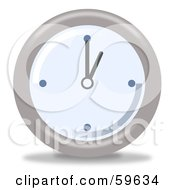 Royalty Free RF Clipart Illustration Of A Round Chrome And Blue Wall Clock Version 1