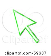 Royalty Free RF Clipart Illustration Of A Green Pointing Cursor Arrow Outline by oboy