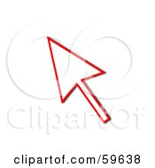 Royalty Free RF Clipart Illustration Of A Red Pointing Cursor Arrow Outline by oboy