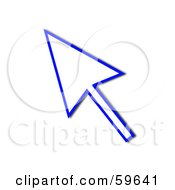 Royalty Free RF Clipart Illustration Of A Blue Pointing Cursor Arrow Outline by oboy