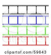 Royalty Free RF Clipart Illustration Of A Digital Collage Of Blank Black Blue Green And Red Film Strips On White