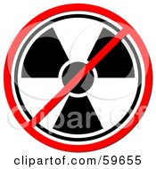 Royalty Free RF Clipart Illustration Of A Black And White Radiation Prohibited Sign On White by oboy