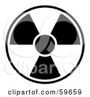 Black And White Radiation Symbol On White