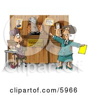 Judge Witness Stenographer And Lawyer In A Courtroom Clipart Picture