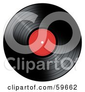 Royalty Free RF Clipart Illustration Of A Black Vinyl Record With A Red Label by oboy