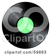 Royalty Free RF Clipart Illustration Of A Black Vinyl Record With A Green Label by oboy