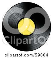 Royalty Free RF Clipart Illustration Of A Black Vinyl Record With A Yellow Label by oboy
