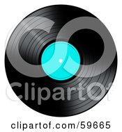 Royalty Free RF Clipart Illustration Of A Black Vinyl Record With A Turquoise Label by oboy