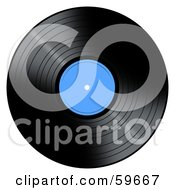 Royalty Free RF Clipart Illustration Of A Black Vinyl Record With A Blue Label by oboy