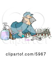 Humorous Bugs Watching A Pest Control Exterminator Test A Chemical Pesticide Substance Clipart Picture