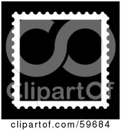 Royalty Free RF Clipart Illustration Of A Blank Black Stamp With White Trim On Black