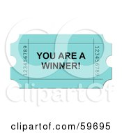 Royalty Free RF Clipart Illustration Of A Green You Are A Winner Ticket On White