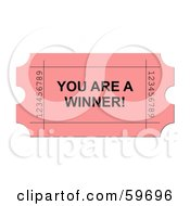 Pink You Are A Winner Ticket On White