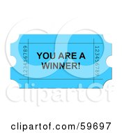 Royalty Free RF Clipart Illustration Of A Bright Blue You Are A Winner Ticket On White by oboy