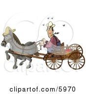 Horse Pulling A Farmer On A Wagon