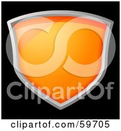 Royalty Free RF Clipart Illustration Of A Wide Shiny Orange Shield Rimmed In Chrome