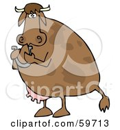 Royalty Free RF Clipart Illustration Of A Brown Cow Standing Up And Holding A Horseshoe