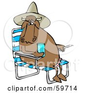 Brown Cow Sitting In A Chair Wearing A Hat And Holding A Drink