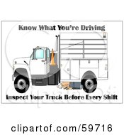 Royalty Free RF Clipart Illustration Of A Worker Kneeling To Inspect The Bottom Of His Work Truck by djart