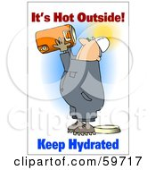 Royalty Free RF Clipart Illustration Of A Thirsty Worker Man Holding Up A Water Cooler