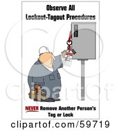 Royalty Free RF Clipart Illustration Of A Worker Man Reading An Electrical Tag