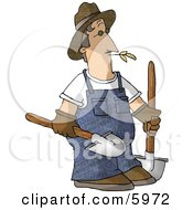 Farmer Carrying Two Rounded Tip Shovels Clipart Picture by djart