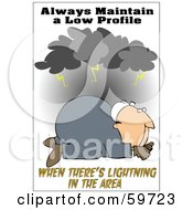Royalty Free RF Clipart Illustration Of A Worker Man On The Ground Under Lightning
