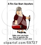 Royalty Free RF Clipart Illustration Of A Lady Carrying A Fire Extinguisher by djart
