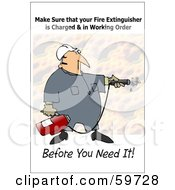 Royalty Free RF Clipart Illustration Of A Worker Man Operating A Fire Extinguisher by djart