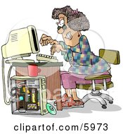 Female Computer Hacker Typing On A Keyboard Clipart Picture