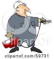 Royalty Free RF Clipart Illustration Of An Industrial Worker Man Preparing To Use A Fire Extinguisher by djart