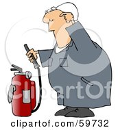 Royalty Free RF Clipart Illustration Of An Industrial Worker Trying To Use A Fire Extinguisher by djart