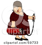 Royalty Free RF Clipart Illustration Of A Middle Aged Woman Holding A Fire Extinguisher by djart