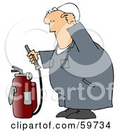 Royalty Free RF Clipart Illustration Of An Industrial Worker Trying To Figure How To Use A Fire Extinguisher by djart