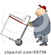 Royalty Free RF Clipart Illustration Of A Worker Man Delivering A Dryer On A Dolly