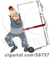 Royalty Free RF Clipart Illustration Of A Worker Man Delivering A Refrigerator On A Dolly