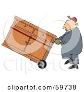 Royalty Free RF Clipart Illustration Of A Worker Man Delivering A Dresser On A Dolly by djart