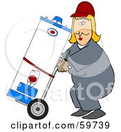 Worker Woman Delivering A Water Heater On A Dolly