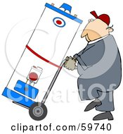 Royalty Free RF Clipart Illustration Of A Worker Man Delivering A Water Heater On A Dolly