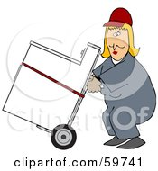 Royalty Free RF Clipart Illustration Of A Worker Woman Delivering A Dryer On A Dolly