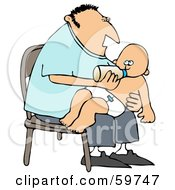 Royalty Free RF Clipart Illustration Of A Father Sitting In A Chair And Feeding His Baby