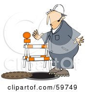 Royalty Free RF Clipart Illustration Of A Male Worker Nearly Falling Into A Man Hole by djart