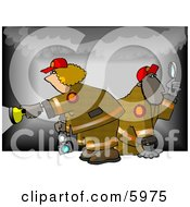 Man And Woman During A Fire Investigation Clipart Picture by djart