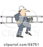 Worker Man Carrying A Ladder