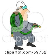 Royalty Free RF Clipart Illustration Of A Worker Man Carrying A Green Hose