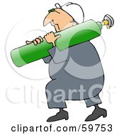 Royalty Free RF Clipart Illustration Of A Male Worker Carrying A Green Oxygen Tank