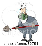 Royalty Free RF Clipart Illustration Of A Sweaty Worker Man Shoveling And Wearing A Respirator